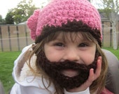 Girls ULTIMATE Bearded Beanie Pink and Brown