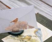 Wooden songbird envelope seals, birch and cherry, set of 20