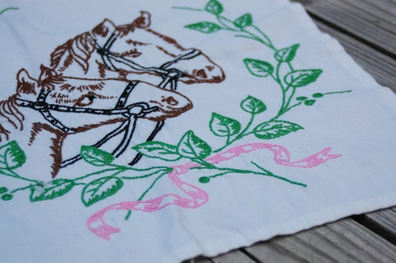 Vintage 1950s horse embroidery, runner, table scarf