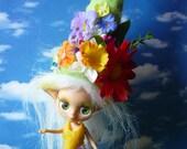 Green Spring Flower Pixie Hat for Petite Blythe, Little Pullip etc.