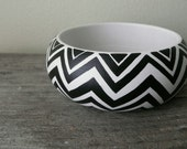 Chevron black and white handpainted wooden bracelet