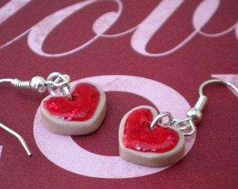 Red Heart Shaped Sugar Cookie Earrings