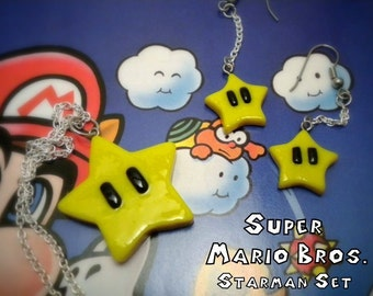 Starman Necklace and Earring Jewelry Set - Super Mario Bros - Nintendo