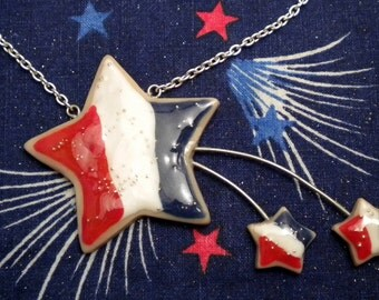 Star Spangled Cookie Necklace - 4th of July