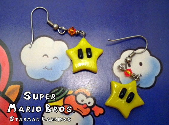 Starman Earrings (Post or Dangle) - Super Mario Bros - Nintendo