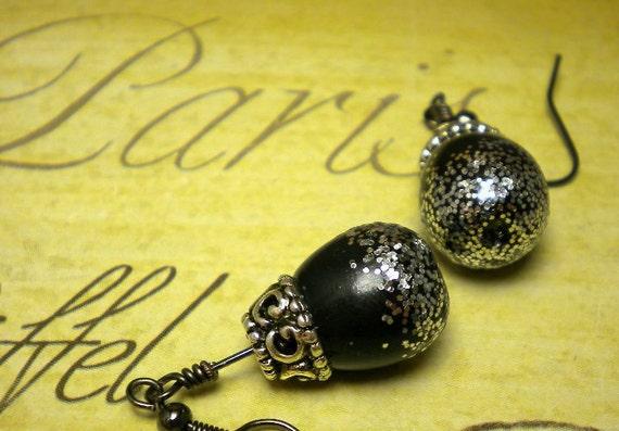 Antique Silver and Black Teardrop Earrings