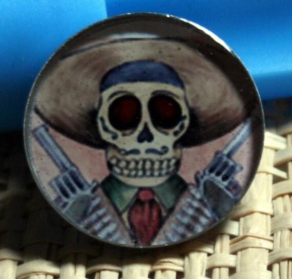 Calavera Pancho Villa Original Art Pendant