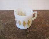 Fire King Milk Glass Mug, Gold Diamond Pattern
