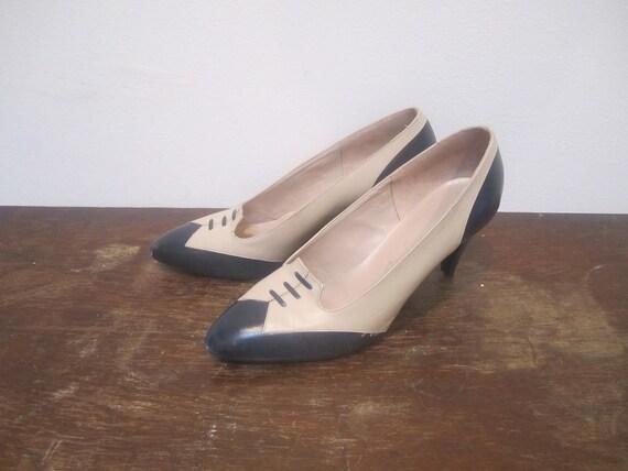 60s De Liso Tuxedo Heels, sz 8