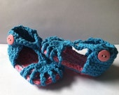 Crochet Baby Summer Sandals - Pink Multi and Turquoise - Baby Booties - Baby Shoes - OR you choose color - S108