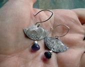 Fine Silver Paisley and Amethyst Fan Earrings-Sale