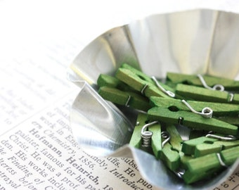 Hand-Stained Mini Clothespins - Green Apple
