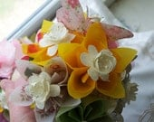 Origami Kusudama Flower Bouquet Peaches and Cream Including 7 Flowers