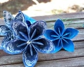 Paper Flowers of Sapphire Blue 6 Origami Flowers With Stems