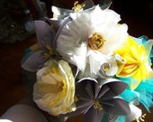 Bridal Paper Flower Bouquet Customized 12 Flowers Included