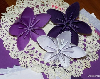Origami Flowers-Deep Purple Passion Five