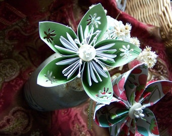 Origami Paper Flower Mini-Bouquet ..Three With Stems