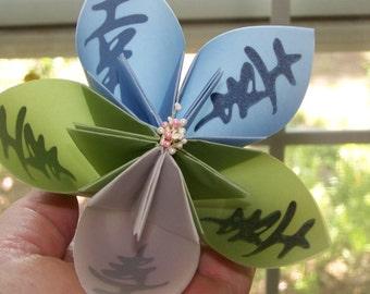 Large Kusudama Origami Kanji Flower