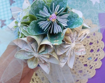 Origami Flower Girl or Toss Bouquet Six  Customized Flowers