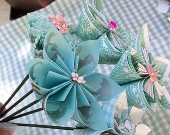 Paper Flower Childrens Room Bouquet 5 Origami Customized Flowers
