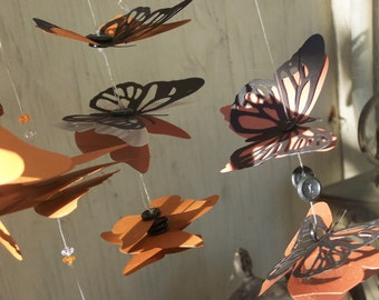 Small Butterfly Mobile - Monarch Butterflies Autumn Migration - Made to Order