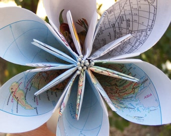 Large 6 Inch Origami Map Flower With Stamens Stem Bow