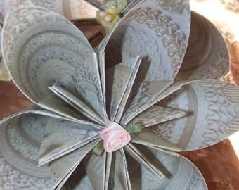 Wedding Kusudama 4 Ivory Origami Flowers Included