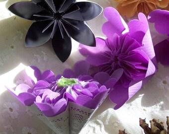 Paper Flowers Lavender Series of 7 Origami Flowers Loose Variety