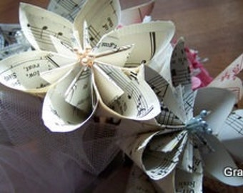8 Vintage Sheet Music Paper Flowers of the Kusudama Kind