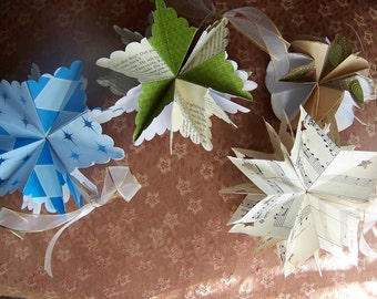 Origami Paper Star Ornaments 5 Large Customized Included