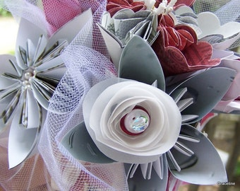 Bridesmaid Mini Bouquet of 6 Origami Customized Flowers Silver and Scarlet