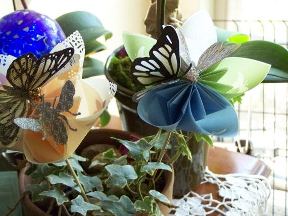 Four Large Origami Pastel Flowers on Etsy