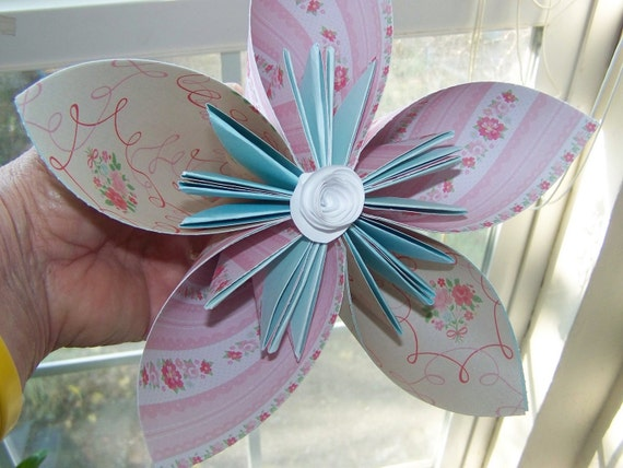 Large Origami  Paper Flowers Customized for Your Celebration Tables or Flower Girl Wands