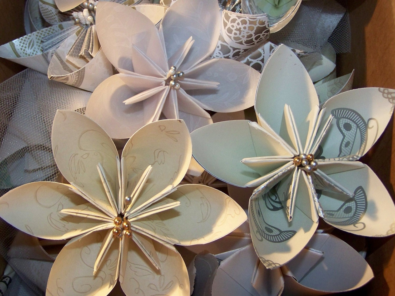 10 Victorian Origami Kusudama Paper Flower Pack With Fancy - photo#11