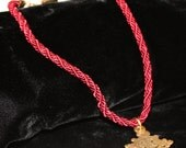 Pendant Necklace on Burgundy Rope