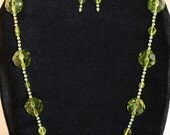 Large Green Bead Necklace and Earrings