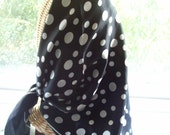 Vintage Classic Black and White Polka Dot Scarf