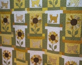 Yellow and Green Cats and Sunflowers Full Quilt