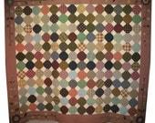 Homespun Plaids Rustic Queen Quilt with Applique Border