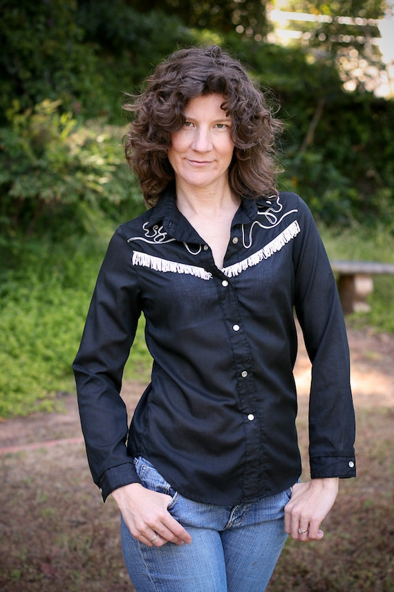 Vintage Black Western Cowboy Snap Shirt with Pearlized Buttons &White  Fringe