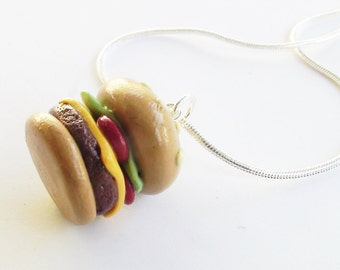 Hamburger Necklace Polymer Clay