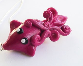 Squid Sea Life Necklace Purple