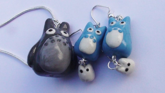 Totoro Themed Earrings and Pendant Set Polymer