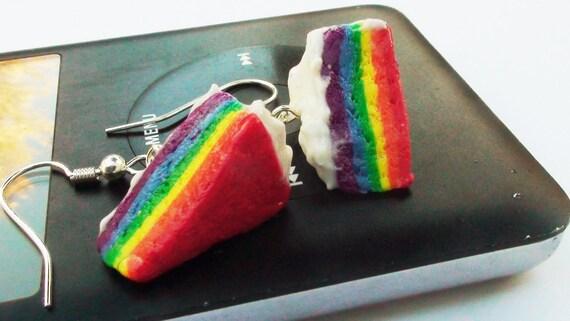 Rainbow Cake Slice Earrings