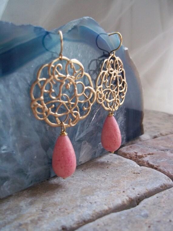 Coral Gemstone Dangle Simple Elegance, Lace Connector Drop Earrings Pink Coral, Bridesmaid Earrings