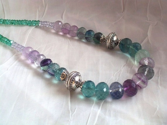 RESERVED FOR E. Fluorite and Quartz with Bali Silver Ornate Beads Necklace Resort Jewelry Green Purple Gemstone Ombre Necklace