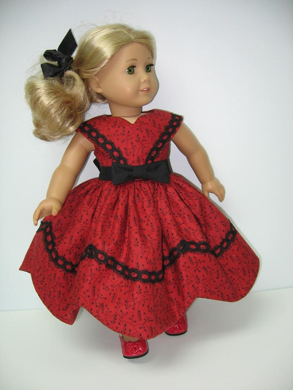 American Girl Doll Red and Black Victorian Dress