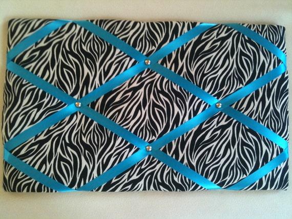 Pin Boards/ Notice Boards/Memo Boards/Zebra Print Turquoise Ribbon