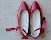 Sunny handmade leather flats in red, MADE to your MEASUREMENTS