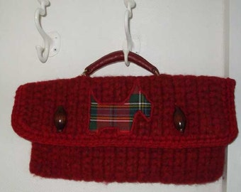 Red Scottish wool bag with Tartan Scottie Terrier guard Dog applique and vintage handle